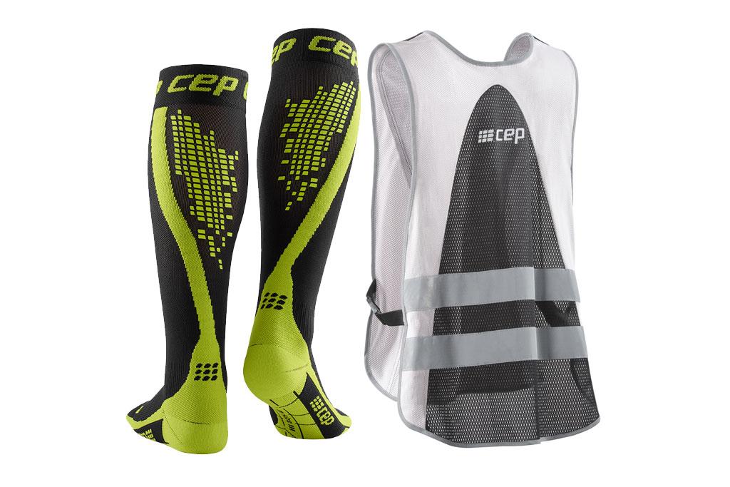 CEP Nighttech Socks + gratis Leuchtweste grün (Herren)