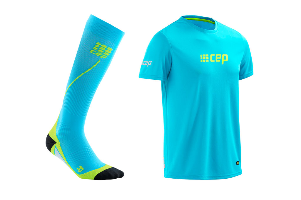CEP Pro+ Run Socks 2.0 + gratis Shirt blau (Herren)