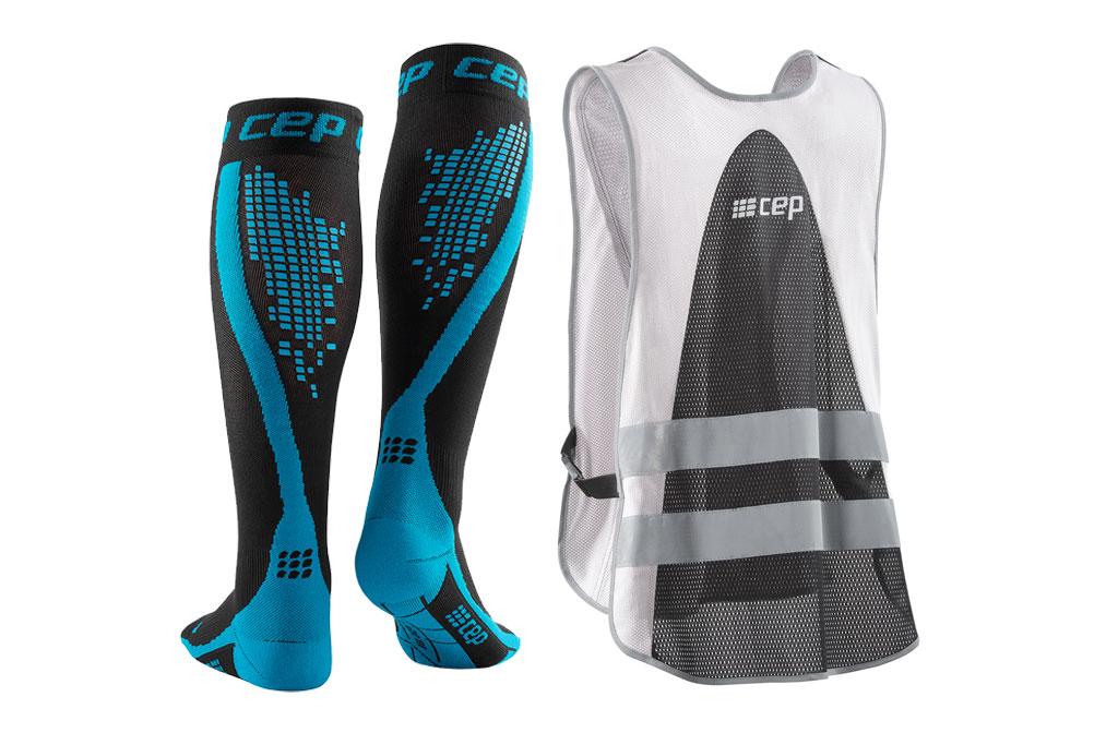 CEP Nighttech Socks + gratis Leuchtweste blau (Damen)