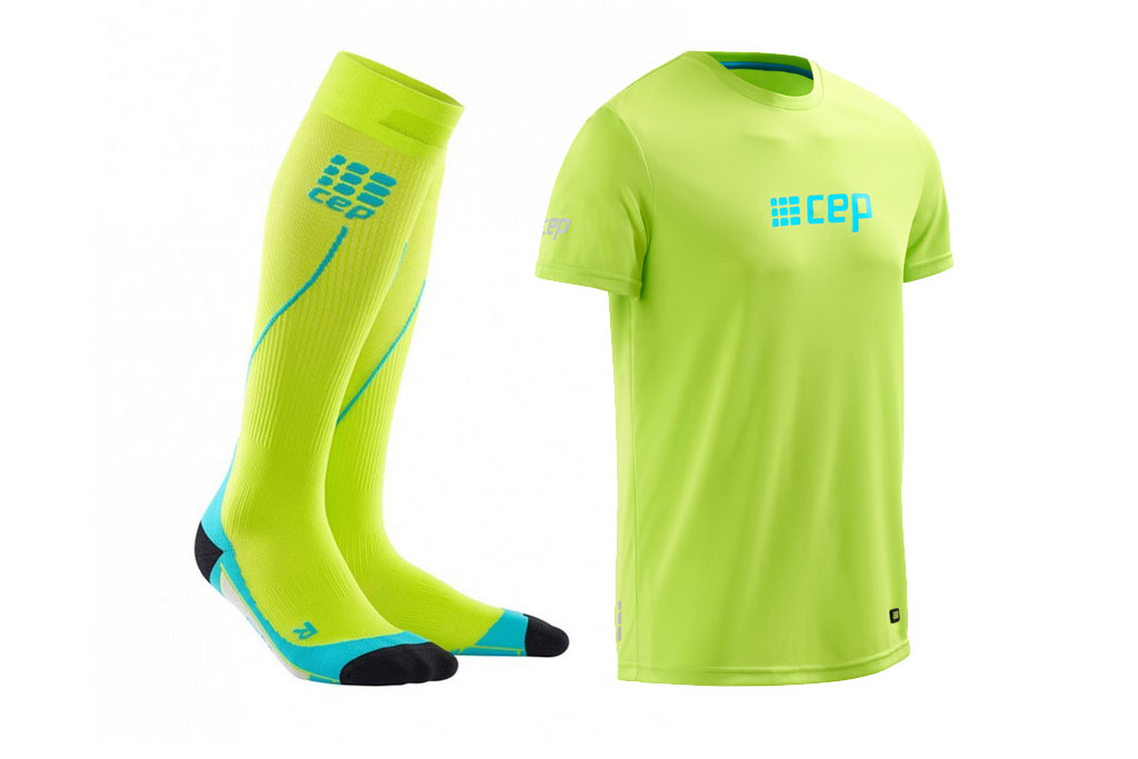 CEP Pro+ Run Socks 2.0 + gratis Shirt hellgrün (Herren)