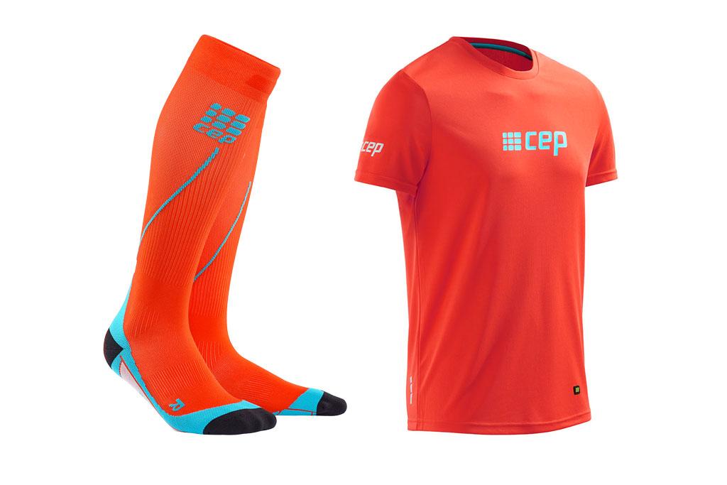 CEP Pro+ Run Socks 2.0 + gratis Shirt orange (Herren)